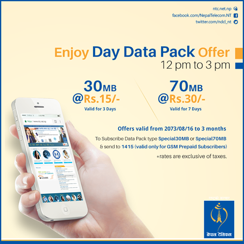 nepal telecom brings day data pack offer