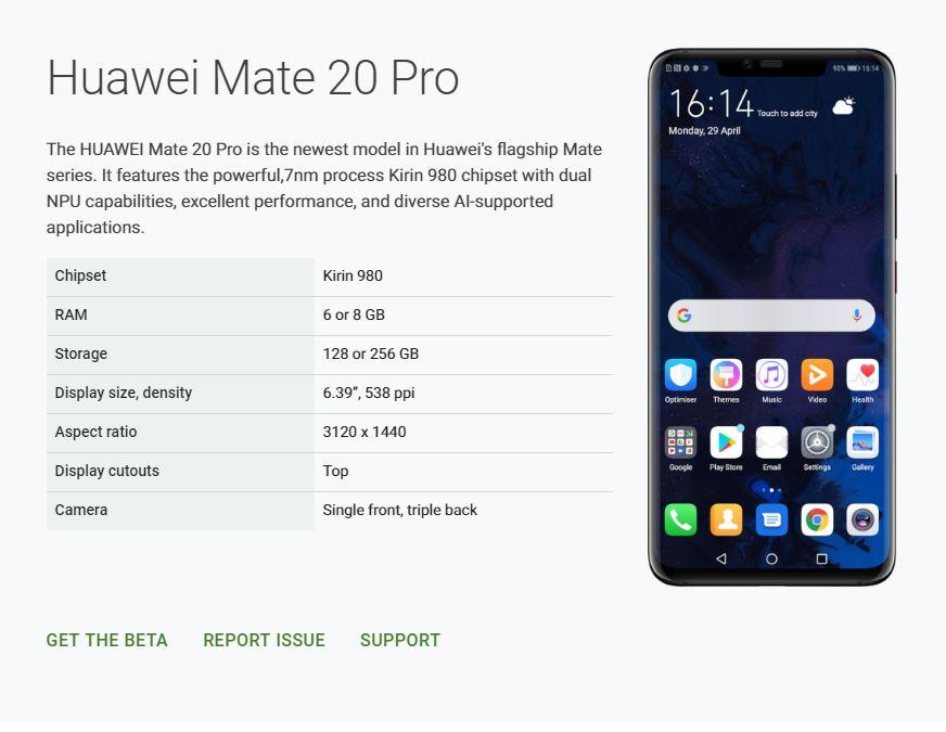 Huawei Mate 20 Pro gets enlisted in Android Q beta list, Y9